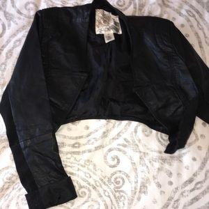 Pleather cropped jacket